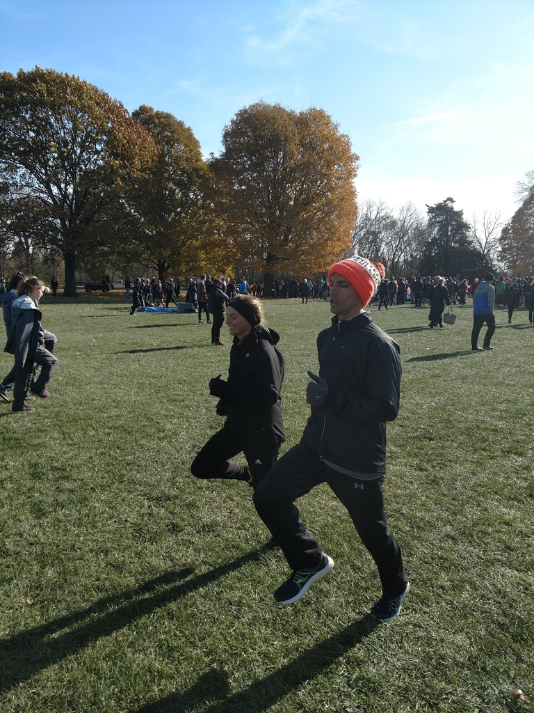 Patterson and Coach Huffman at 2019 IHSA State XC